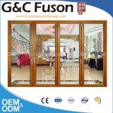 Excelente precio bajo de aluminio plegable puerta de cristal