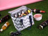 Las olas grises en blanco resistente al agua del enfriador de bolsas de picnic Bolsa de almuerzo bolsas térmicas para la alimentación