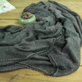 Elegantes natürliches Leinen/Baumwolle gefärbte Dame Shawl mit Spitze (Hz213)