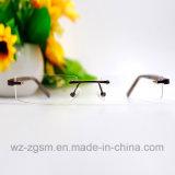 Châssis sans rebord avec temple en bois Designer de lunettes de lecture