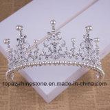 A coroa nupcial personalizada a mais nova de 2018 tiaras de vidro de cristal do presente do Natal de Stonne do casamento da coroa (BC06)