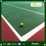 Durable verde rojo de césped artificial para tenis