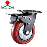 Industrielle steife PU-Fußrolle, 6 Zoll-örtlich festgelegtes Fußrollen-Rad
