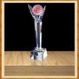Trofeo de cristal transparente de encargo del juego de baloncesto NBA