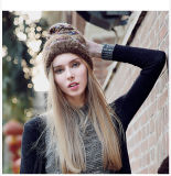 As mulheres no Outono e Inverno Pulôver Quente Lã Malha Hat