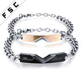 De levering voor doorverkoop personaliseerde de Eeuwige Echte Armband van het Titanium van de Liefde voor Paren
