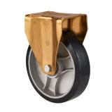 """4 """" /5 """" /6 """" /8 """" schwarze Gummialuminiumkern-Fußrolle mit Doppelbremse"""