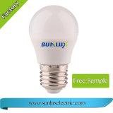 Eficiência de plástico e alumínio 7W-12W 85V-265V lâmpada LED de luz branca quente de 7 W