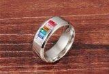Los anillos de bodas cristalinos del arco iris de la manera para los hombres y los hombres venden al por mayor el anillo alegre del acero inoxidable