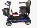 4개의 바퀴 상자를 가진 전기 2륜 전차 스쿠터 또는 큰 4개의 바퀴 기동성 스쿠터는 또는 전기 차량을 위로 서 있다