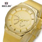 Relógio de ouro Belbi homens simples moda Vigilância de quartzo de alta qualidade