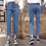 Голубой Леди джинсы с специальная мойка на ноге (HDLJ0047-18)