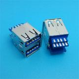 고속 90 도 이중 USB 여성 PCB 연결관