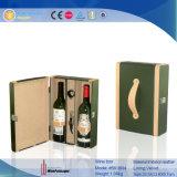 Cassa del vino dell'elemento portante del vino del cuoio del Faux delle 2 bottiglie (5618)