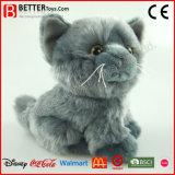 Jouet mou de la peluche En71 de chat gris réaliste de peluche pour des gosses