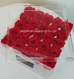 Новая ясная акриловая коробка цветка для 9, 16, 25, 36 реальных роз
