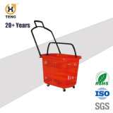 Hot la vente de véhicules à roues de paniers de magasinage en plastique avec de grandes capacités