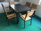 Los muebles fijan el capítulo de aluminio que cena los muebles seis sillas con los vectores para la cena al aire libre