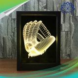 Animations 3D Cadre Photo d'éclairage de nuit à LED allumé en 7 couleurs avec télécommande de lampe de table pour la Chambre des cadeaux de Noël