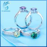 Farbige Kubikzirconia-Einstellungsform Silber-Ring-Schmucksachen