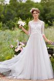 3/4 di vestito da cerimonia nuziale nuziale del paese del giardino della spiaggia del vestito dai manicotti Lb1857