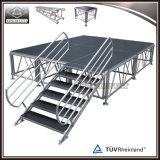 Aluminium en bois de plate-forme d'étape d'étape portative réglable