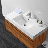 Superfície sólida branco bacias de mão de lavagem de luxo com armário (180109)