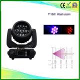 Zoom principal mobile personnalisé de lumières de lavage de 7*15 4in1 DEL