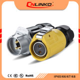 2wiresプラスチックIP67は太陽制御ボックスのための金張りのピンコネクタ2 Pinの電源コードを防水する