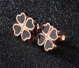 La moda de acero inoxidable Cuatro corazones Stud Earrings para las mujeres de color oro rosa partido clásico Accesorio de joyas regalos