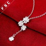 Collar plateado plata de la gota de la flor de la manera de la venta directa de la fábrica