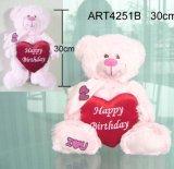 Urso da cor-de-rosa do luxuoso do feliz aniversario com coração do Valentim