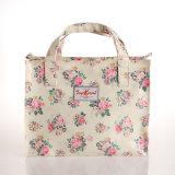 Rétro sac à main floral imperméable à l'eau blanc de toile de PVC (6818)