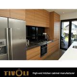 Revestimiento de madera de roble Paneles de cocina laminados de cocina con respaldo negro Tivo-0249h