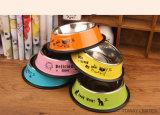 Bacias de alimentação do gato da impressão do cão da bacia do animal de estimação do aço inoxidável