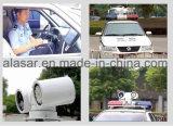 A polícia móvel do carro policial evidencia a câmera do sistema de reconhecimento PTZ da matrícula