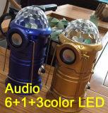 Indicatori luminosi di campeggio freddi magici con l'audio 3color LED lanterna di campeggio di Bluetooth