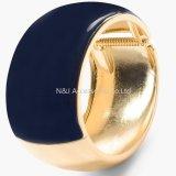 Armbanden van de Armbanden van het Metaal van het Email van de manier de Blauwe Brede Ronde Goud Geplateerde voor de Juwelen van Vrouwen