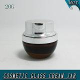 vaso cosmetico di vetro ambrato 20g con il coperchio del metallo