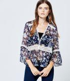 Mode féminine de l'habillement 2017 Col V volant manchon de mousseline de soie imprimés blouse Blouse de travail correctif de dentelle designs patterns nuque