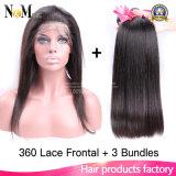 360 Spitze-Stirnbein mit gerades brasilianisches Jungfrau-Haar-einschlagbündeln 3PCS der Bündel-8A mit 360 Stirnbein-Spitze-Schliessen