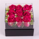 Venta caliente rosa flor de cristal acrílico caja caja caja de regalo