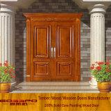 Porte de porte d'entrée de porte moderne en bois massif (XS1-021)