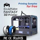 Il doppio espulsore di Ecubmaker, supporta 4 materiali, serie automatica di fantasia della stampante del livello 3D