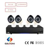 4 Sistema de seguridad de la cámara Kit IP Poe NVR de 4 canales