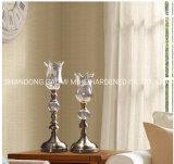 Supporto di candela del metallo e di vetro della decorazione, supporto di candela
