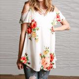 Le T-shirt desserré estampé par fleur de femmes de mode vêtx le chemisier