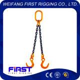 Due imbragature a catena dell'acciaio legato dei piedini per alzare