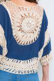 女性対照カラーハンドメイドのかぎ針編みの上