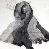 Châle unisexe mou dégradant d'écharpe de coton de toile tissé par mode (HWBLC08)
